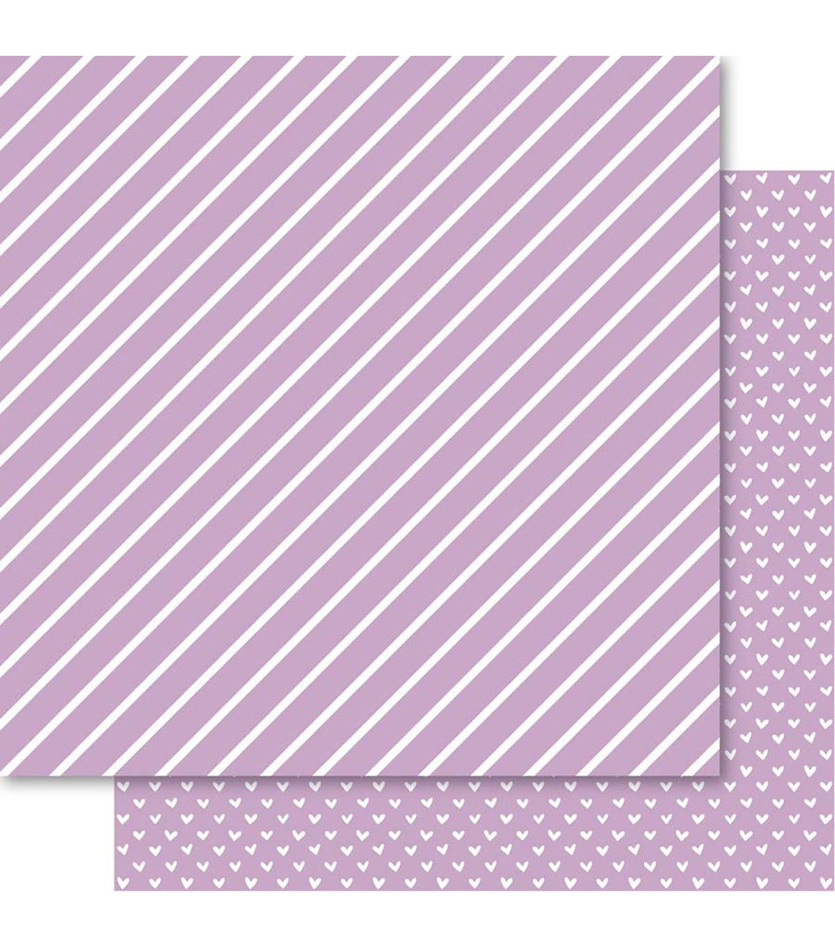 Bella! Foiled Cardstock - Hearts & Stripes - Orchid
