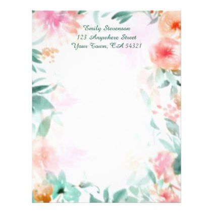 personalized very pretty floral letterhead flowers floral flower