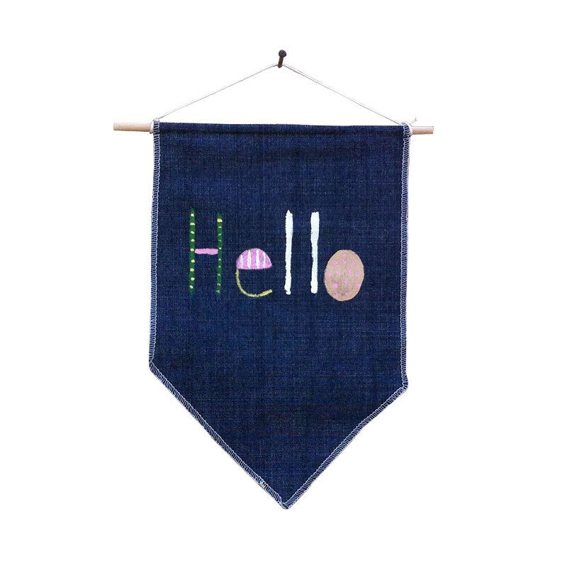 hello banner flag wall flag hand painted hand sewn inspirational