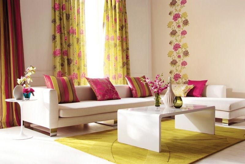 Décoration de salon u2013idées avec coussins,tableaux et rideaux - decoration de salon moderne