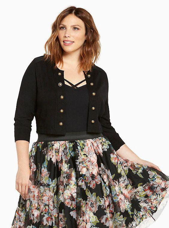 Military Shrug | Stuff | Plus size shrugs, Black knit, Plus size skirts