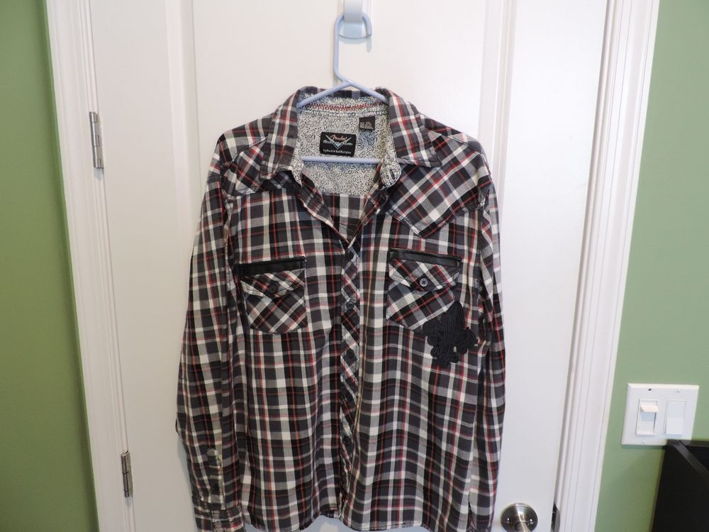 Fender Multi Colored Flannel Embroidered Plaid Shirt SZ 2XL Mint Quick Ship #Fender #ButtonFront