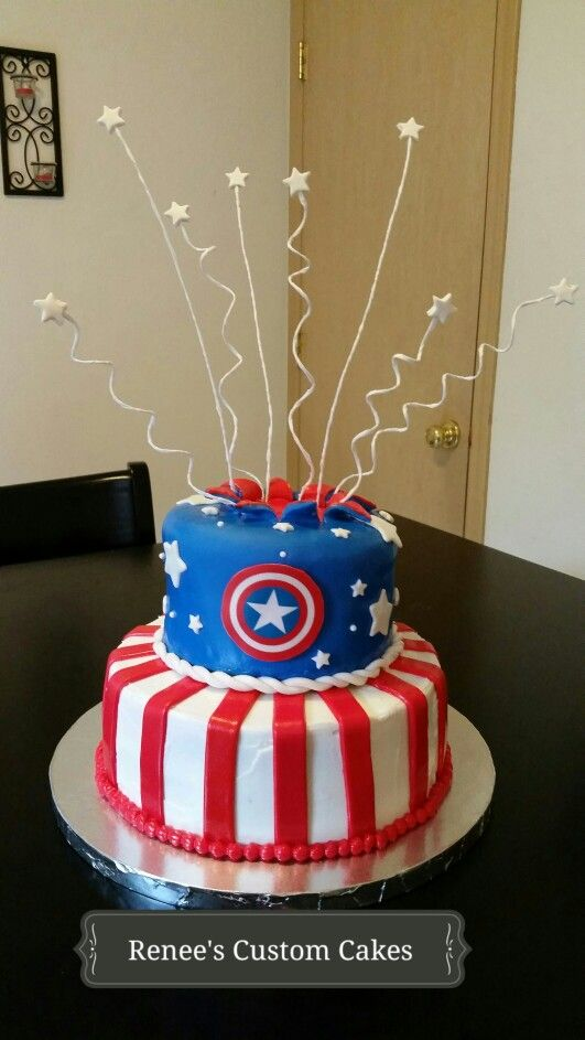 Excellent Captain America Cake Captain America Birthday Cake Captain Funny Birthday Cards Online Alyptdamsfinfo