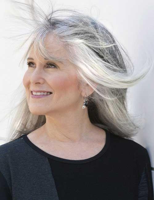 Hairstyles For Long Grey Hair Older Women