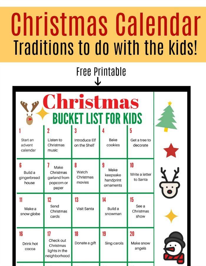 25 Christmas Traditions and Activities for Kids Christmas calendar
