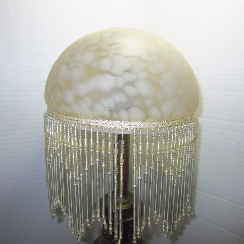 vintage look small table lamp frosted glass beaded fringe shade no rh pinterest com