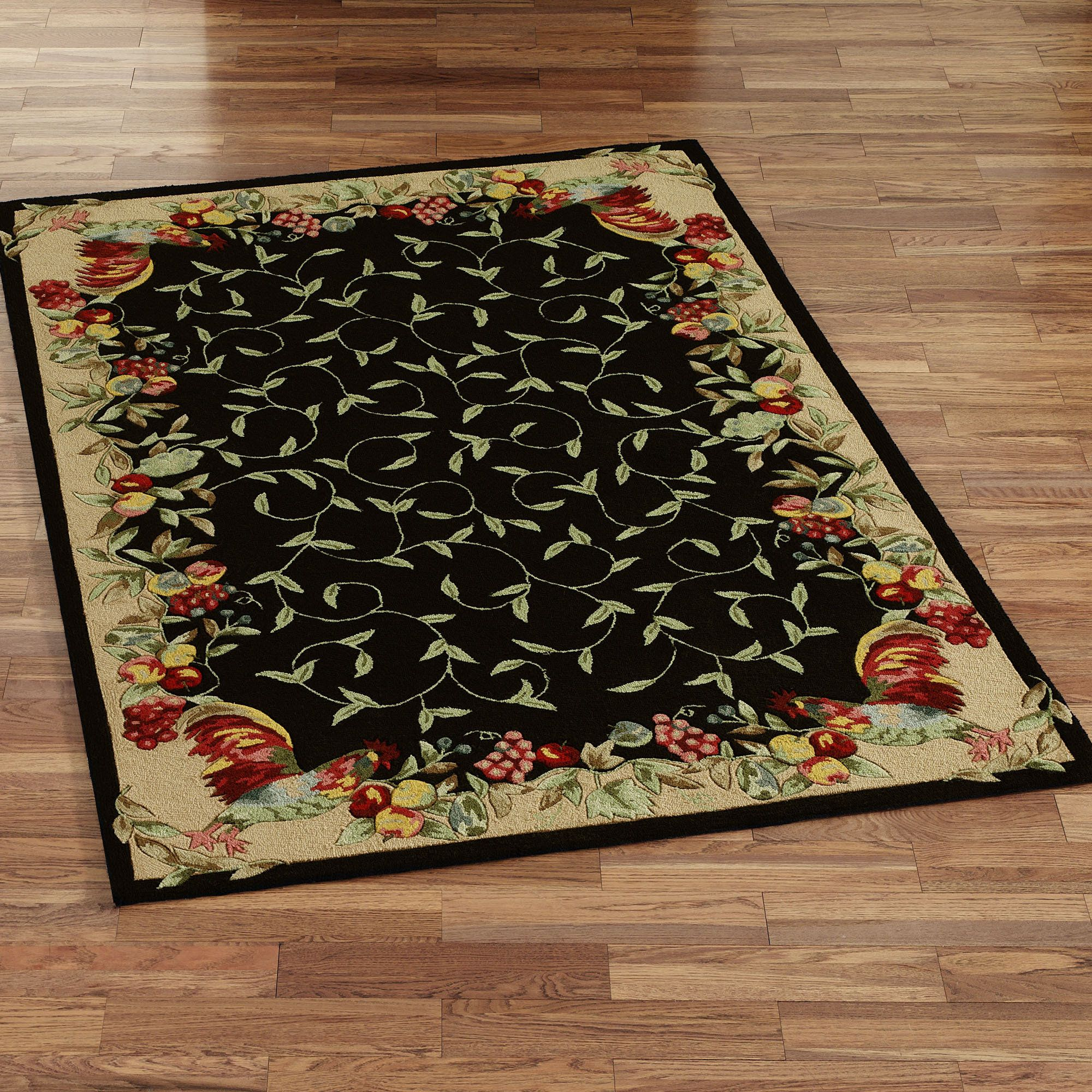 Beautiful Fruit And Floral Leafs Small Kitchen Rugs On Faux Wooden
