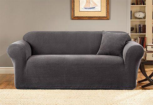 sure fit slipcovers stretch metro one piece sofa 110 living room rh pinterest com