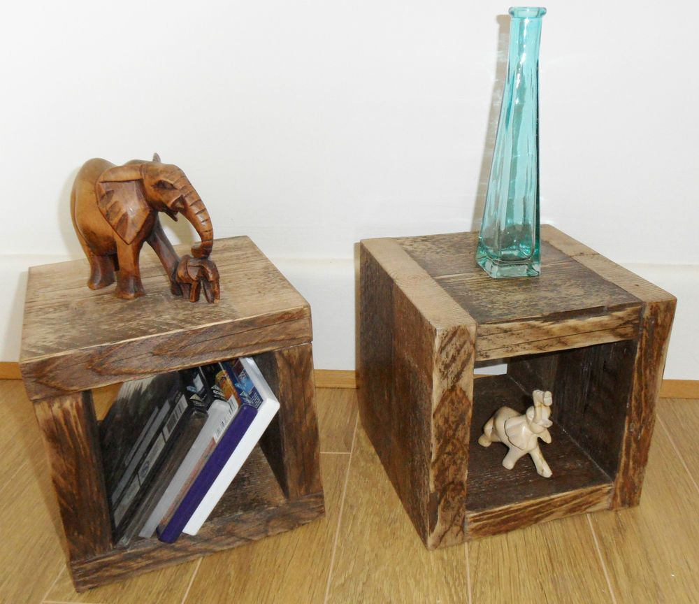 PAIR Rustic Chunky Solid Wood Cube Table   Coffee Side End Lampstand    225mm in Home. PAIR Rustic Chunky Solid Wood Cube Table   Coffee Side End
