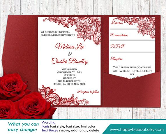 DiY Printable Pocket Wedding Invitation Template by HappyBlueCat