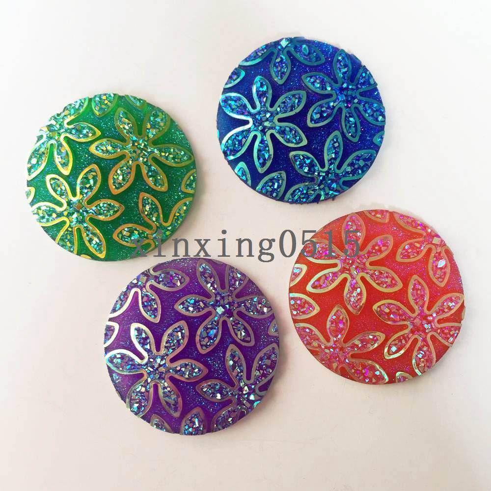 12pcs AB Resin horse eye FlatBack flower Rhinestone Embellishment 2 hole buttons