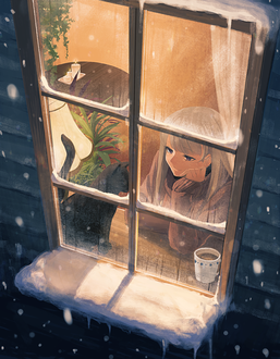 Фото Девушка смотрит в окно, на подоконнике которого сидит ...