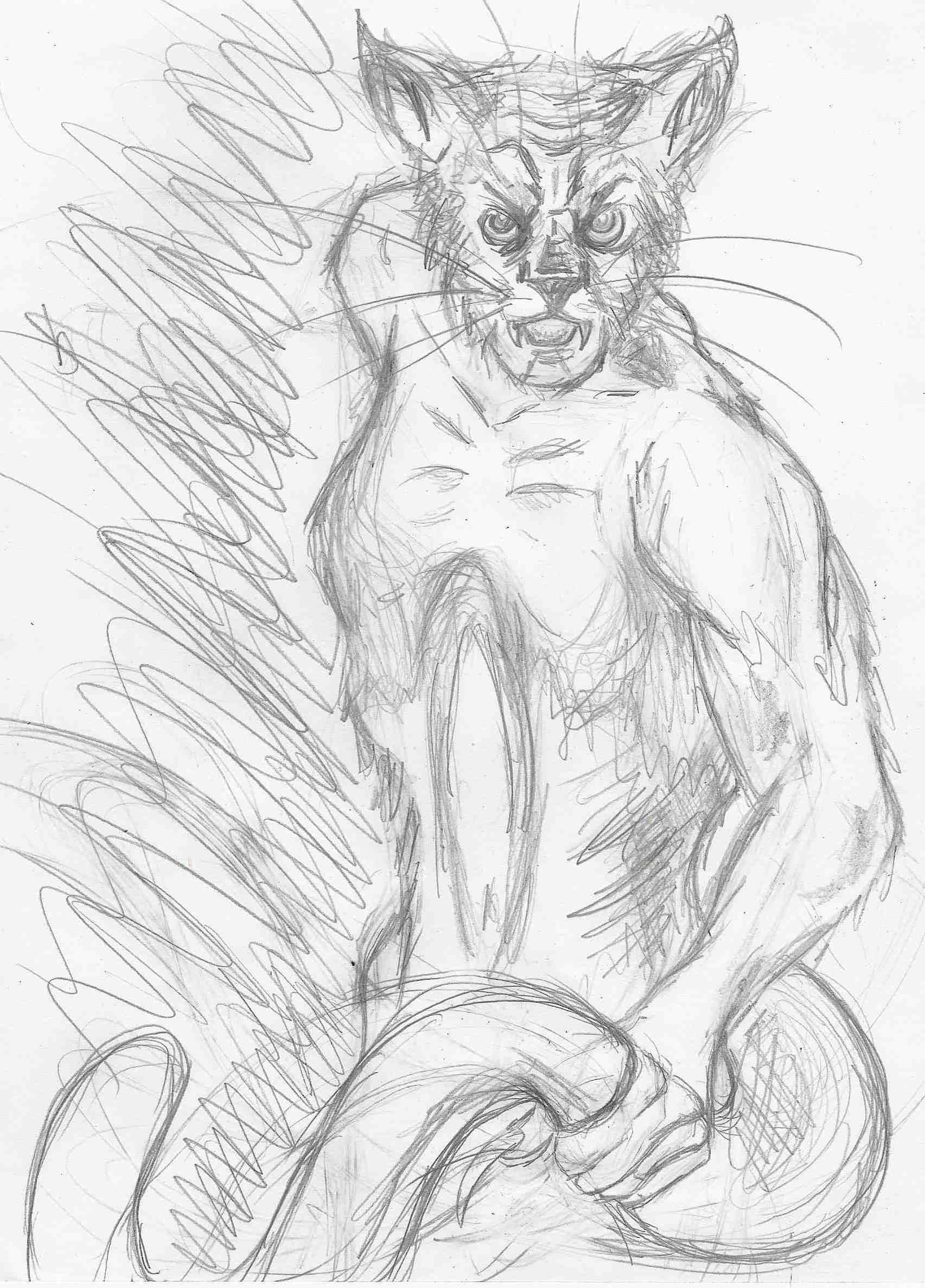Wampus Cat Cats Humanoid Sketch Art