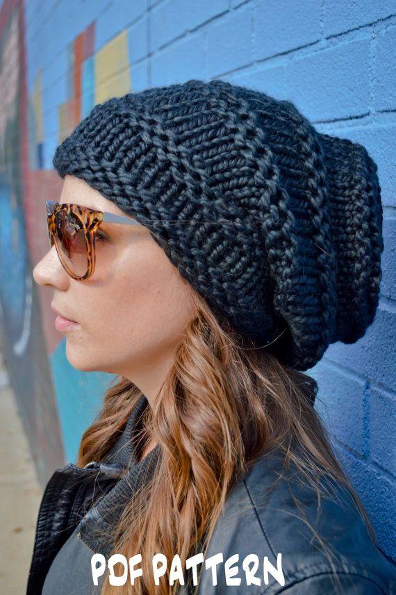 Knit Hat Pattern, Knitting Pattern ROCKER HIVE BEANIE, Knitted ...