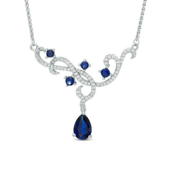 Zales Pear-Shaped Lab-Created Blue Sapphire and Diamond Accent Frame Y Necklace in Sterling Silver - 16 MfhyO