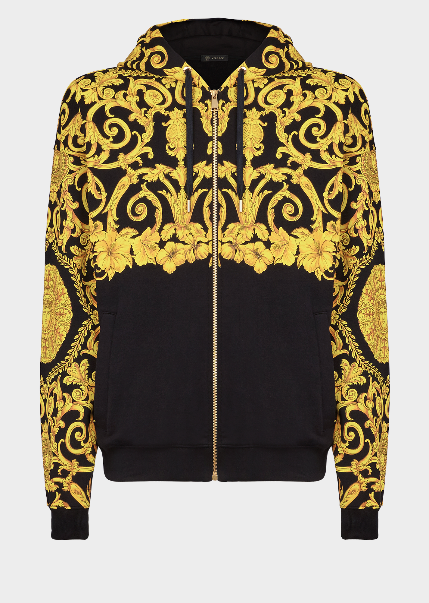 45cc7928 VERSACE Gold Hibiscus Print Zipped Hoodie. #versace #cloth | Versace ...