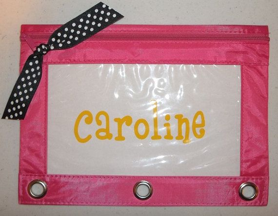 Personalized Monogrammed Binder Pencil Zipper Pouch Back To School