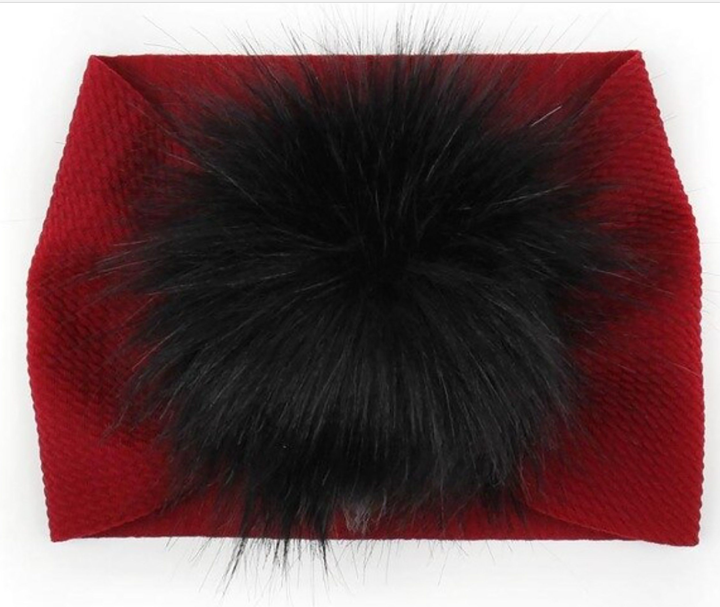 Faux-Fur Puff Headbands - Toddler / Maroon with Black & White Fur