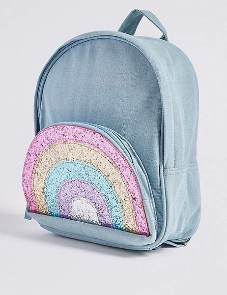 73b504fd9fa8 Marks and Spencer Kids  Pure Cotton Glitter Rainbow Backpack