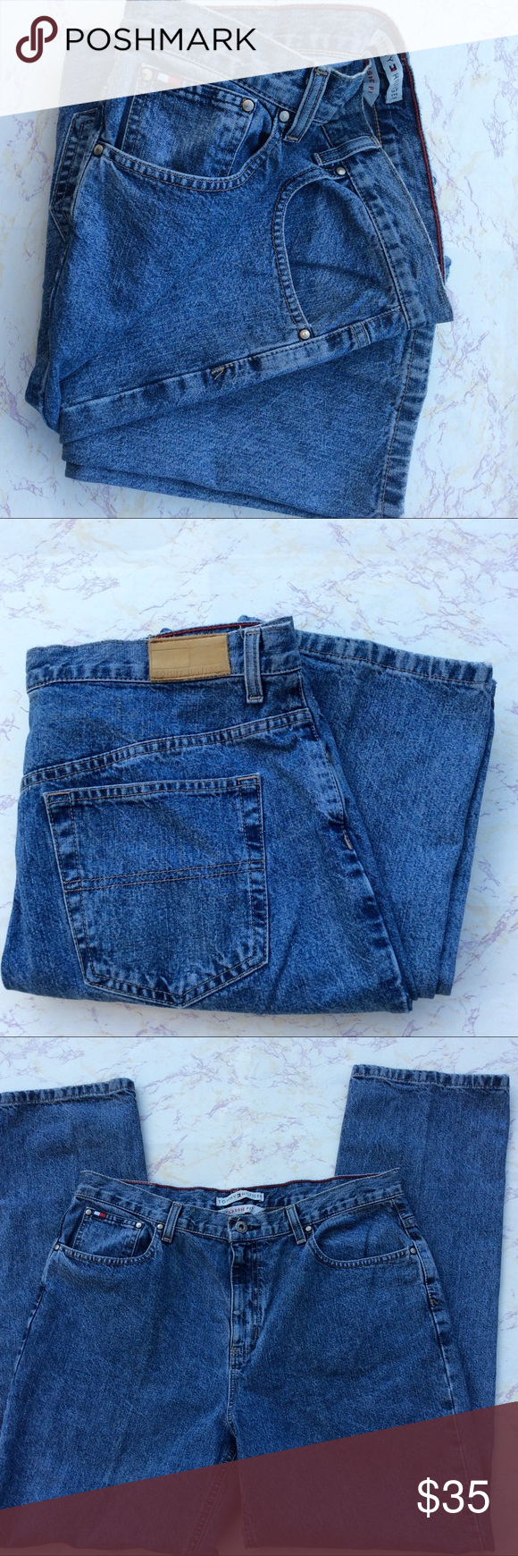 Tommy Hilfiger Classic Fit Jeans Tommy Hilfiger Classic fit blue jeans. 100% Cotton. Size 14. Waist 34. Inseam 31. Rise 11. Great condition. Tommy Hilfiger Jeans