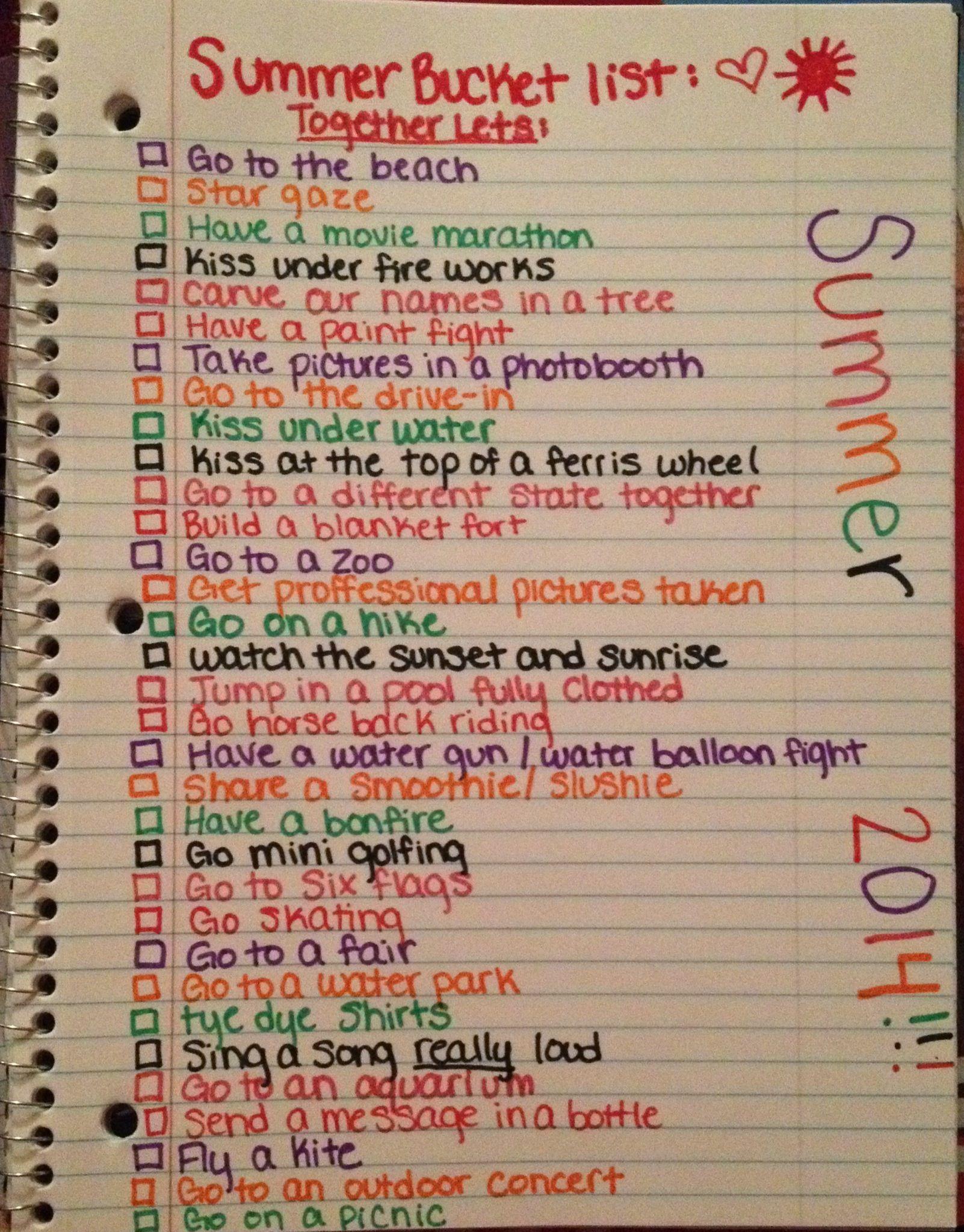 Tumblr List Bucket Summer