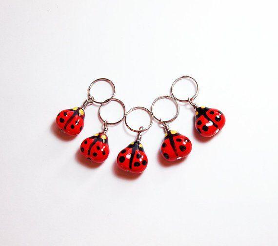 Ladybug SNAG FREE Knitting Stitch Markers