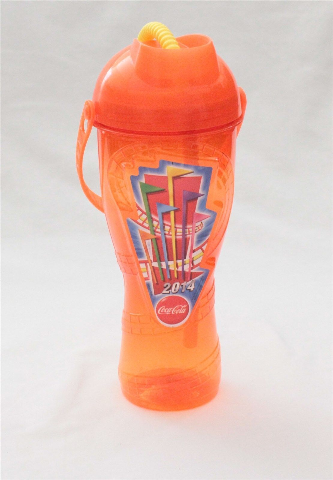 Nice 2014 Six Flags Theme Park Orange Souvenir Water Bottle Cup With Straw Check More At Http Harmonisproduction Com 20 Cup With Straw Six Flags Theme Park