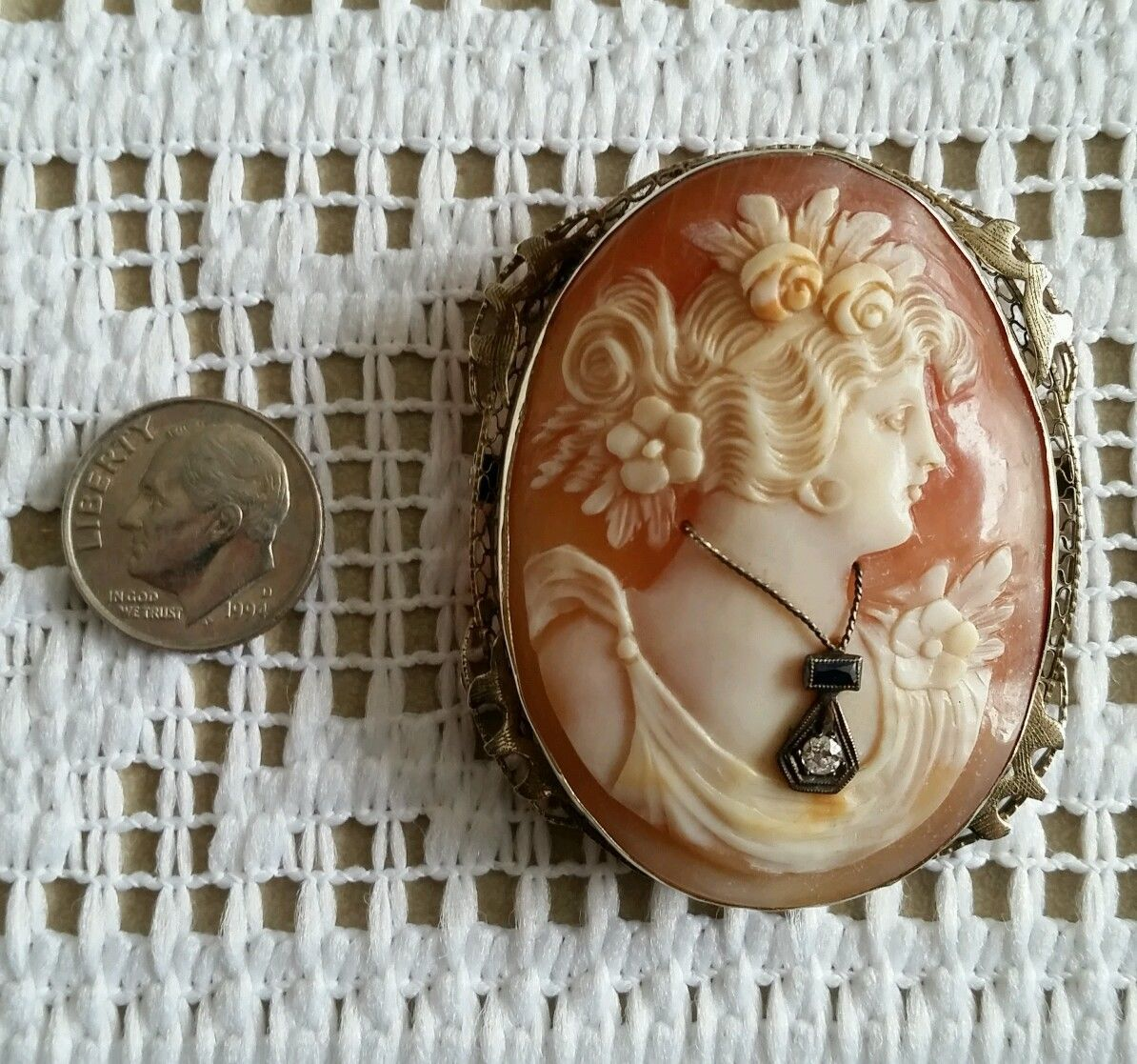 Huge One of A Kind Very Fine 14k Gold Antique Shell Cameo Pin Brooch or Pendant | eBay