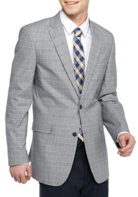 Tommy Hilfiger BlackWhite Classic-Fit Plaid Wrinkle Resistant Cotton Sport Coat