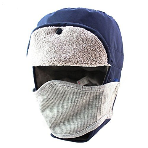 Home Prefer Mens Winter Warm Bomber Trapper Hat Waterproof Earflaps Russian  Snow Ski Hat with Face Mask Navy Blue     Check out the image by visiting  the ... 8a8ef936246