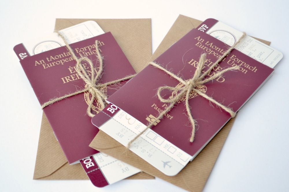 Wedding passport invitations with matching rsvp boarding