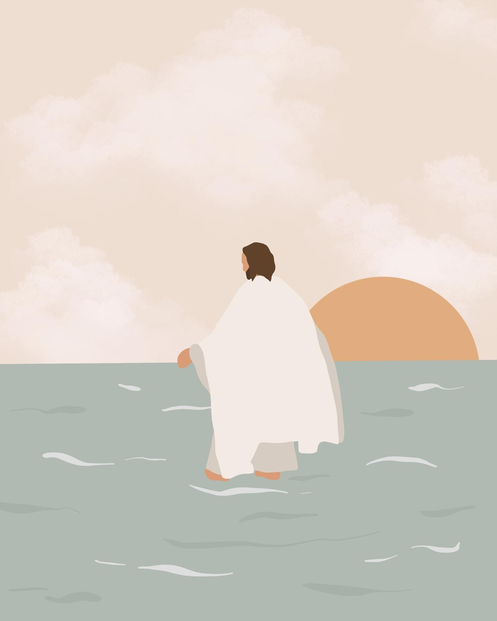 Walking on water - Jesus Christ Portrait Religious Artwork