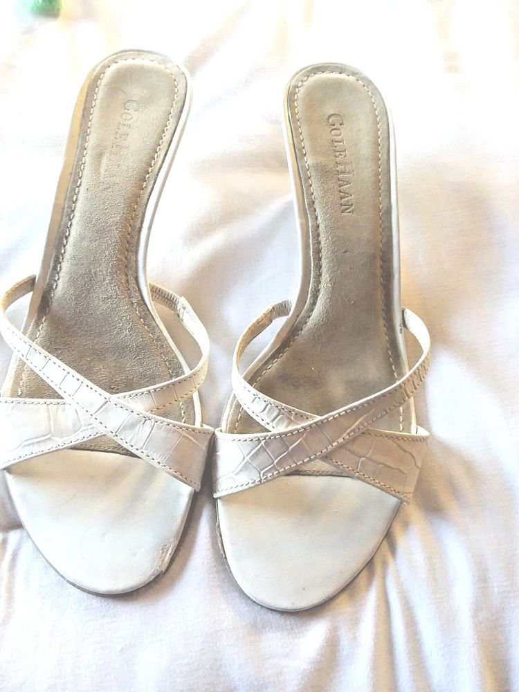 2b1cd756975 COLE HAAN White Leather Mule Sandal With Kitten Heel Size 8.5B ...