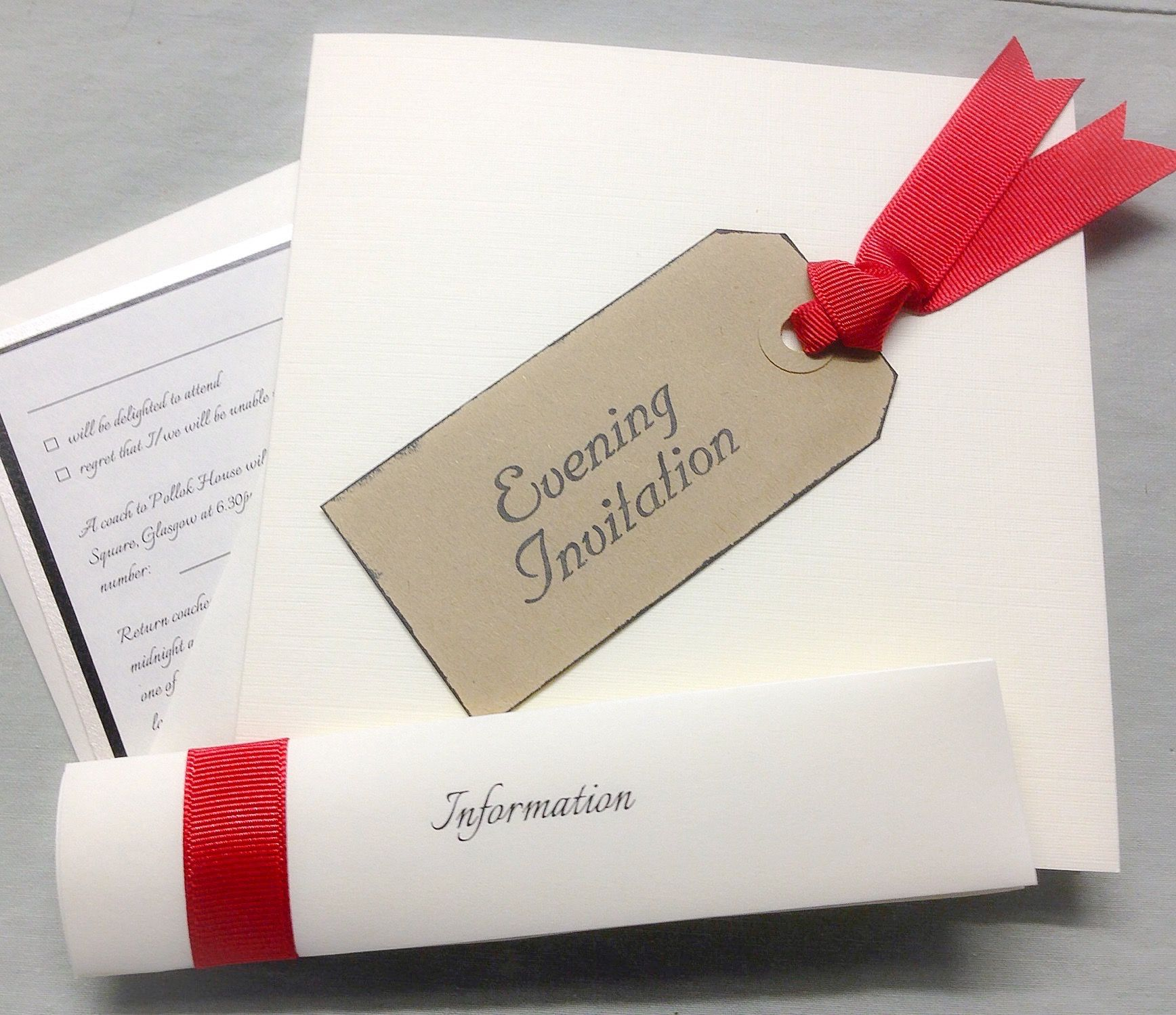 Red grosgrain tag handmade wedding invitation by