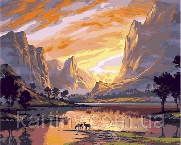 Раскраски для взрослых 40×50 см. Долина в золотом свете ...