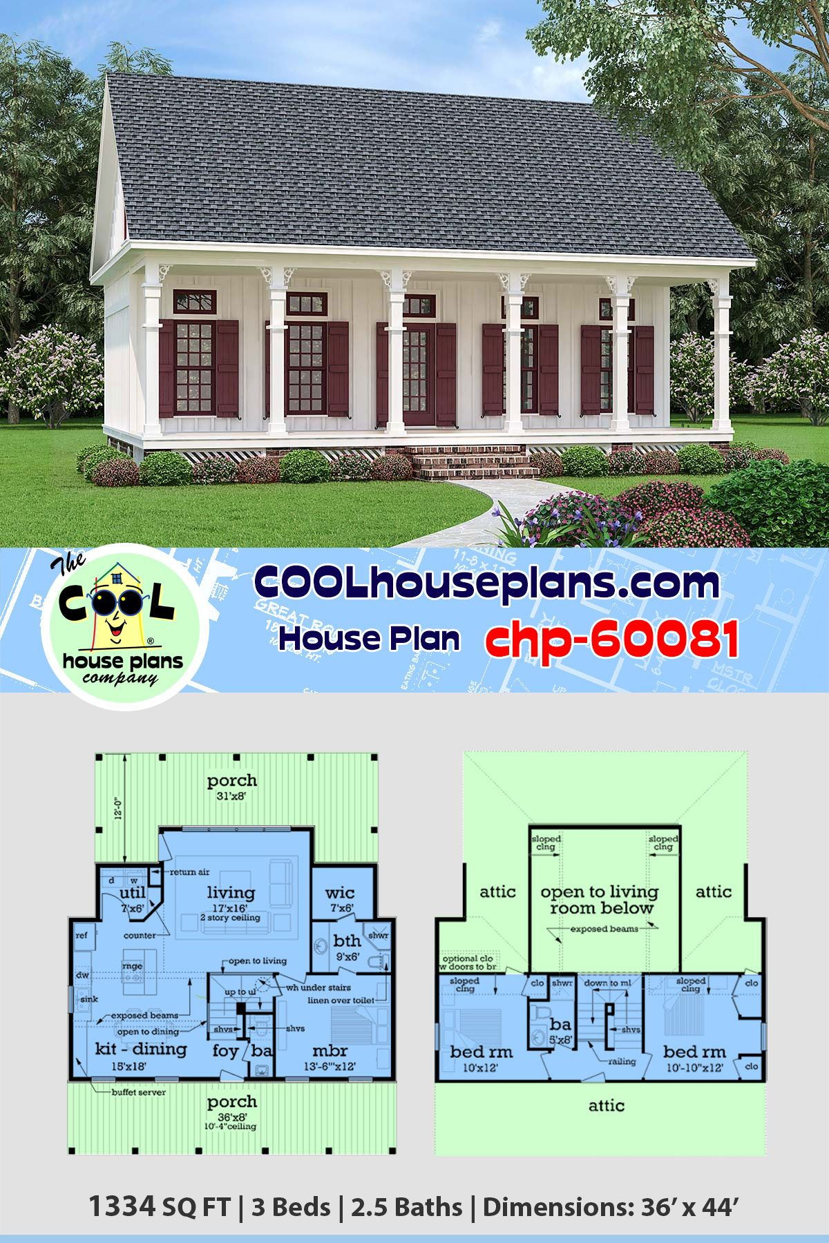 Southern Style House Plan 76936 With 3 Bed 3 Bath Colonial House Plans House Plans Cottage Style House Plans