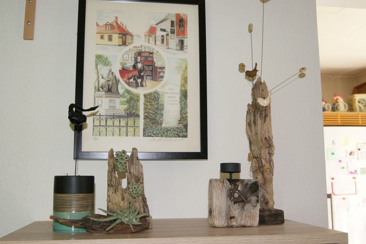 Drivtømmer og keramik.