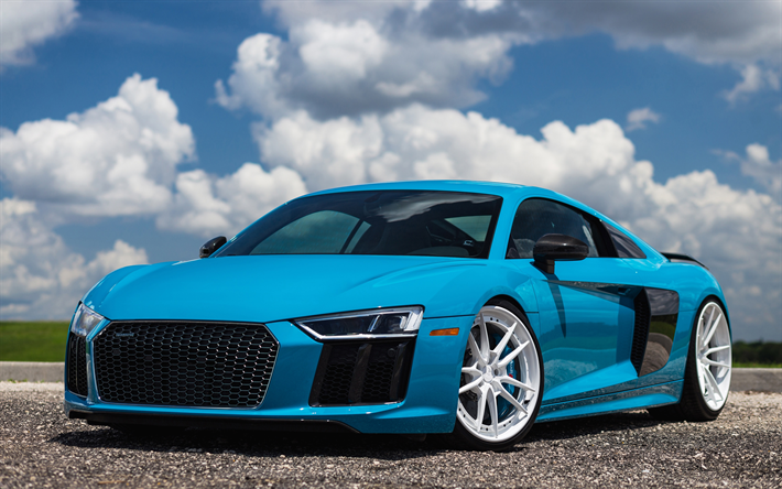Download Wallpapers 4k Audi R8 Tuning 2018 Cars Blue R8