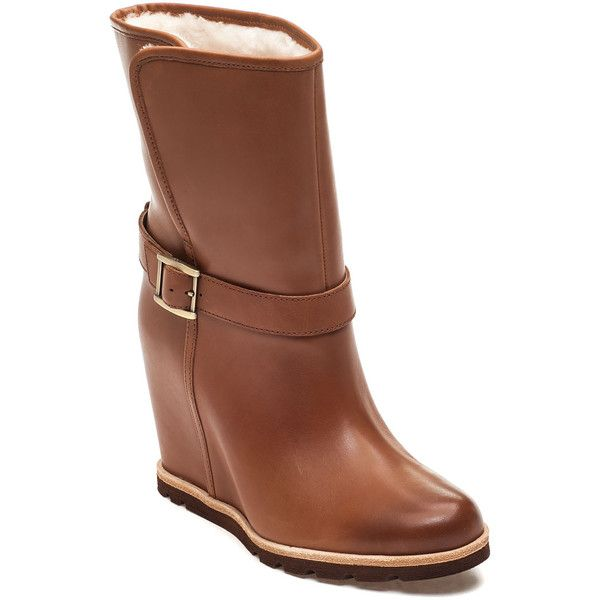 UGG® Ellecia Chestnut Leather Boot ($185) ❤ liked on Polyvore featuring  shoes,. Wedge Ankle BootsWedge ...
