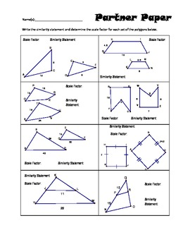 Similar Polygon and Scale Factor Partner Paper | Writing ...