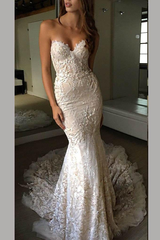 Luxurious Sweetheart Strapless Lace Trumpet Court Train Bridal Gown Simibridaldress Lace Wedding Dress Open Wedding Dress Train Elegant Formal Prom Dresses