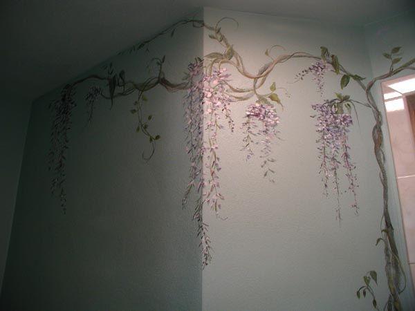 Murals Wisteria Bathroom Flower Mural Mural Wisteria