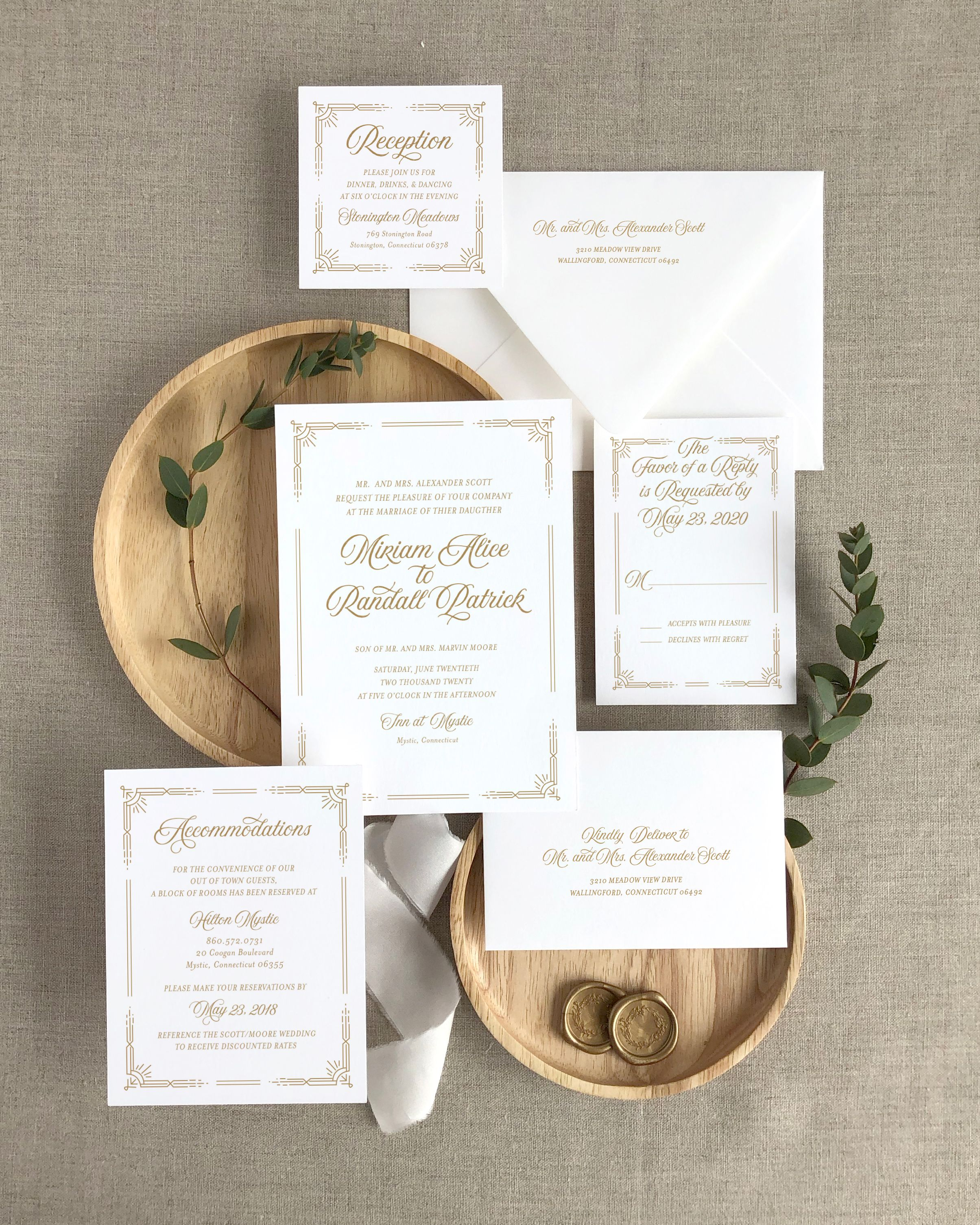A chic, glamorous, semi-custom wedding invitation with an Art Deco inspired  design. This … | Ornate wedding invitation, Wedding invitation design,  Stationery design