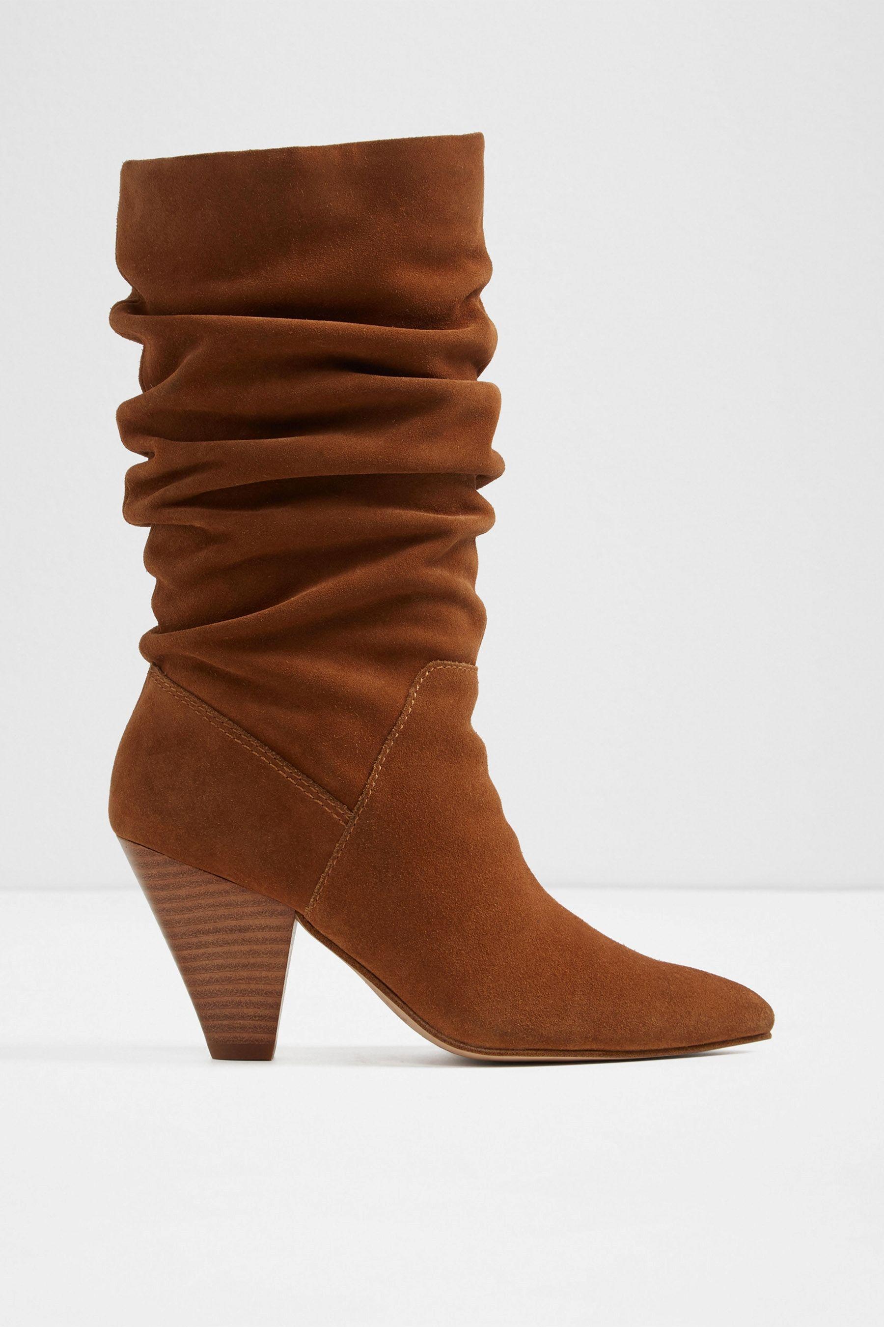 26f0fafc3da Womens Aldo Ladies Cone Heel Slouch Calf Leather Boot - Brown ...