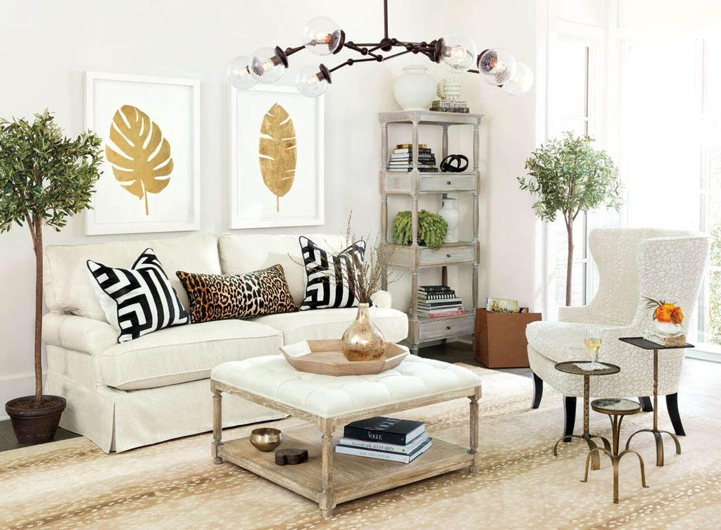 Contemporary Living Room with Suzanne Kasler Metal