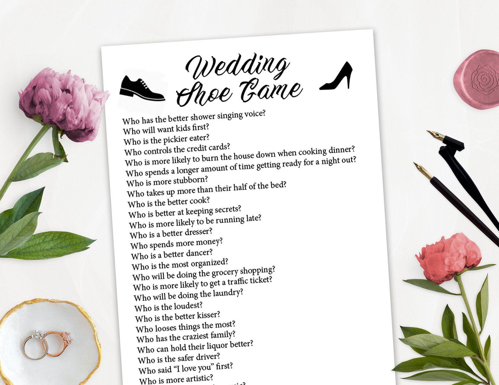 Wedding Shoe Printable Game, Wedding Shoe Game Questions