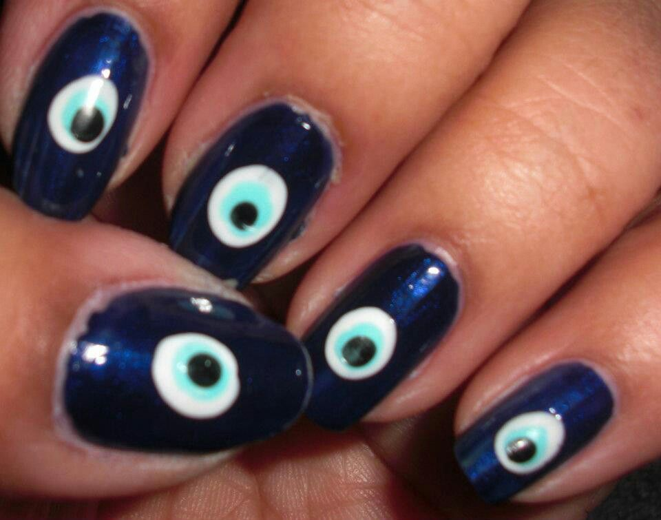 Arabic evil eye design | Nail designs | Pinterest
