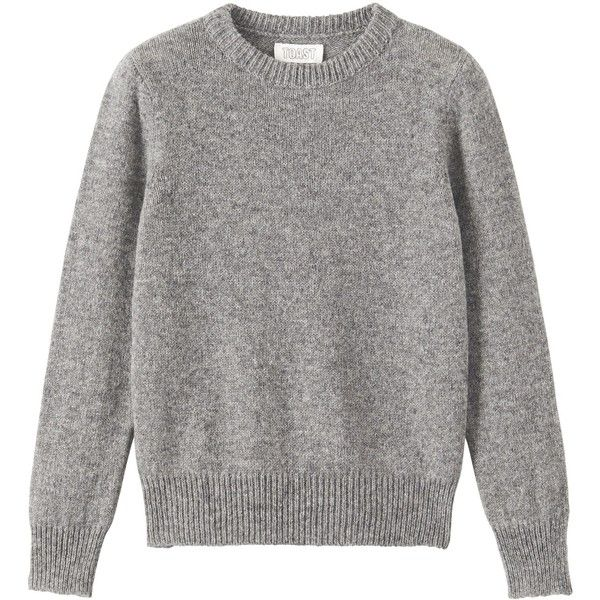 Toast Shetland Slim Sweater (1 925 UAH) ❤ liked on Polyvore featuring tops, sweaters, grey melange, grey top, grey sweater, slimming tops, slimming sweaters and gray top