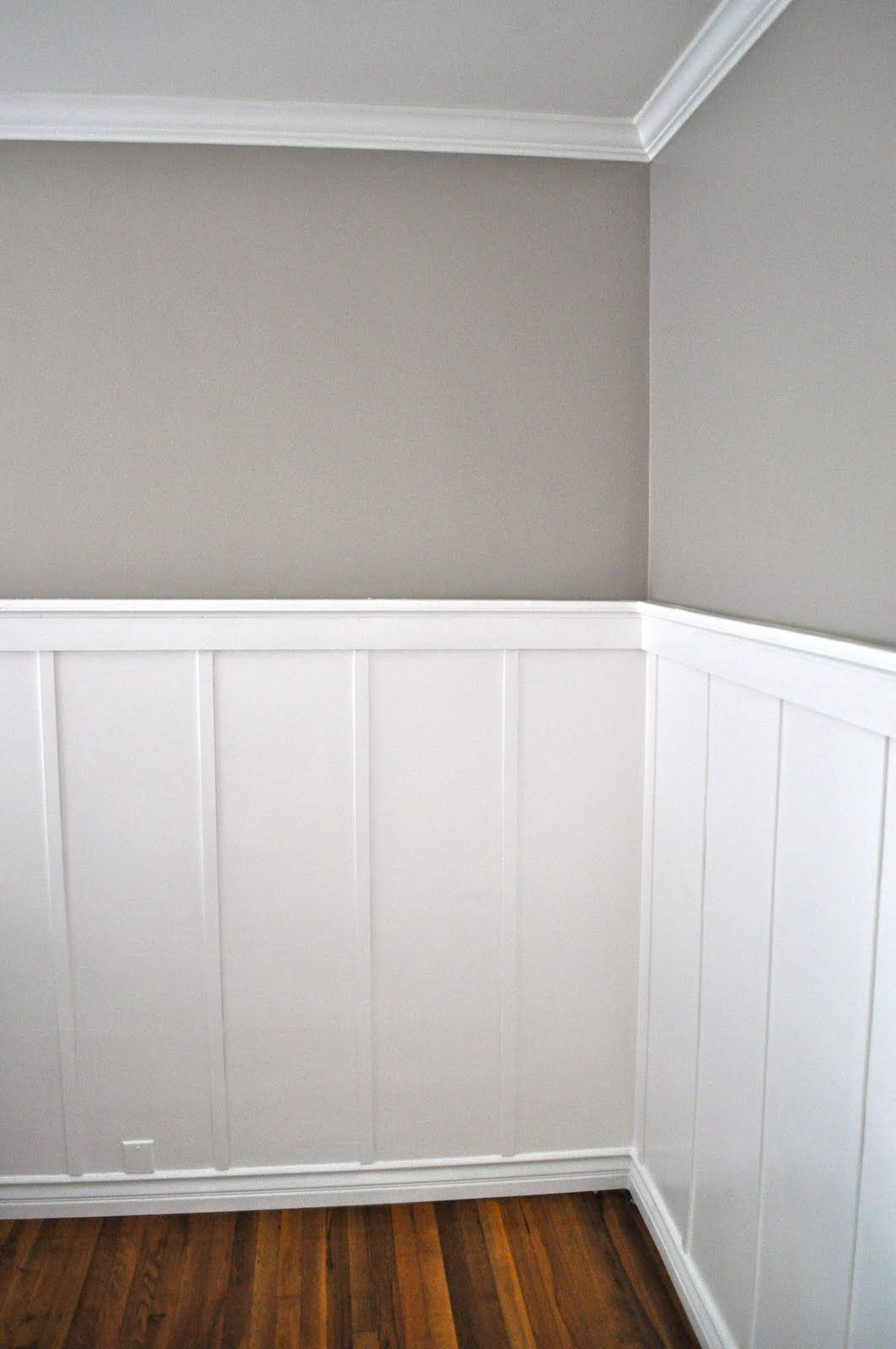 Half Wall Wood Paneling: Board And Batten. I Like The Different Baseboard With A