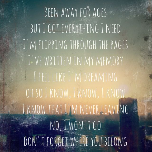 One Direction Song Lyrics Quotes: Don't Forget Where You Belong- One Direction